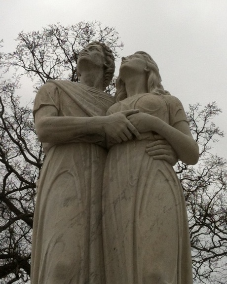 Statue on top of a mausoleum in Crestview Cemetery, Atlanta, Ga.