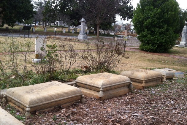 "These ""pillow"" grave markers at Oakland Cemetery are a Victorian symbol for eternal rest."