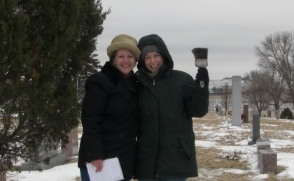 The paintbrush is for sweeping snow/ice off the gravestones. We mean business!