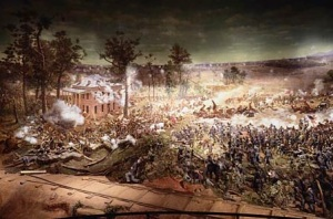 Atlanta's Cyclorama depicting the Battle of Atlanta is one of a handful of panorama painting still in existence.