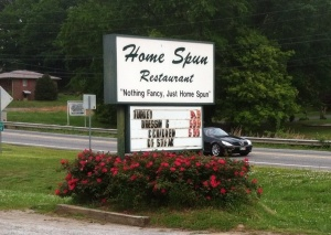 Homespun Restaurant is an awesome meat-n-three. Try the country chicken if you ever visit.