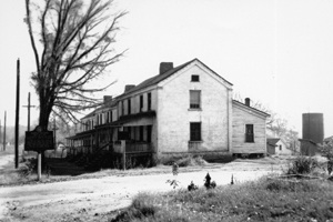 """""""The Bricks"""", as they were called, housed the women working in the Roswell mills. They were built in 1840 and consisted of 10 apartment units."""