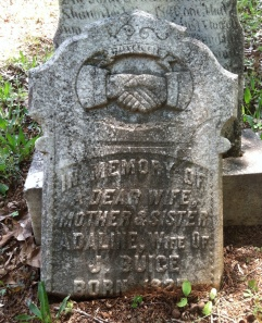 This is Adeline's original tombstone, broken into two pieces.