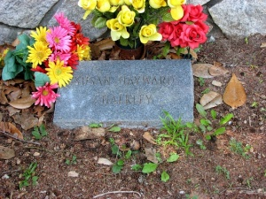 Susan Hayward's grave is simple compared to  her flamboyant Hollywood image.