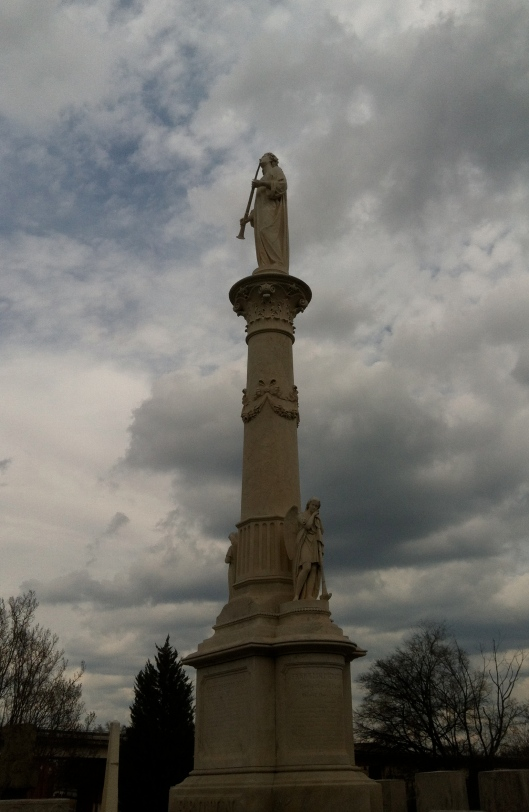 This monument at Oakland Cemetery was damaged during the a tornado but has been restored.