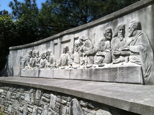 This sculpture of the Last Supper by German artist Fritz Paul Zimmer is eye catching.