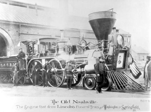 Postcard of Lincoln's funeral train, the Old Nashville, that carried him across seven states and through over 400 communities.
