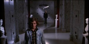 "The Tall Man pursues young Mike in his haunted mausoleum in ""Phantasm."""