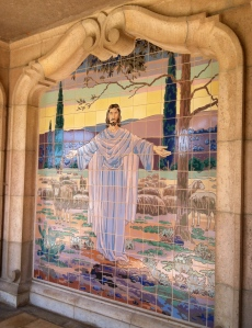 One of several mosaics featuring the life of Christ on the outside of the building.