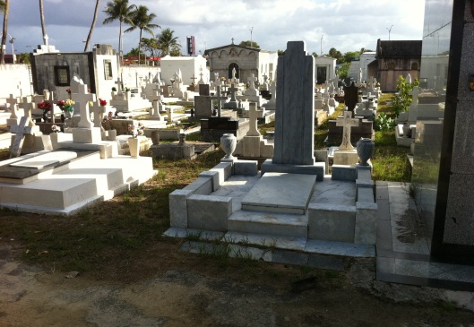 """This shows the general view of the cemetery. It's not really in very good shape as we are accustomed to here in the States. Many of the graves, including mausoleums, have actually been abandoned."""