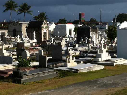 """""""Another general view. The billboards and modern lamp posts are from the boulevard just beyond. The cemetery is a narrow strip of land between the  ocean and the boulevard."""""""