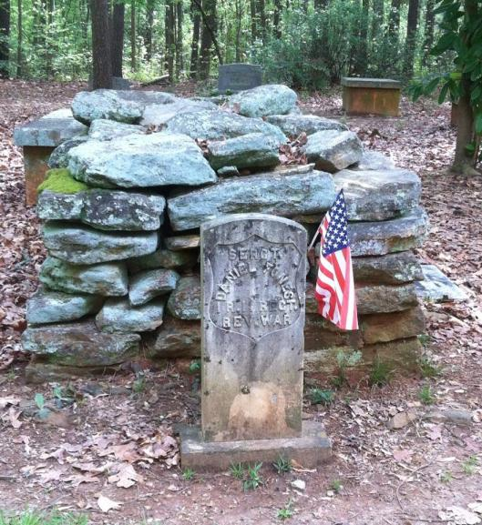 "This stacked stone or ""cairn"" style grave is rarely seen now. This one is for a Revolutionary War veteran who settled in Georgia after it ended."