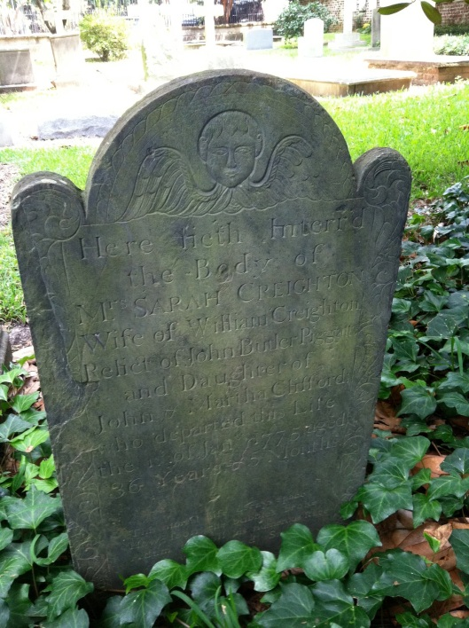 Sarah Creighton, who died in 1775, lived to the age of 36. Her headstone is reflective of the less gruesome style that was coming into play as the 19th century approached.