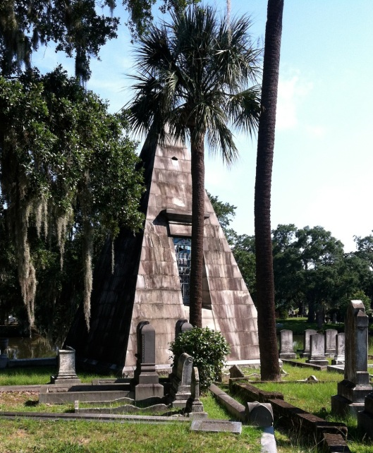 This unique pyramid-shaped tomb holds the graves of members of the Smith and Whaley families. Only a few of this kind of tomb exist in the South.