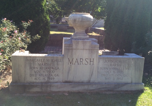 Margaret Mitchell is buried beside her second husband, John Marsh, at Oakland Cemetery.