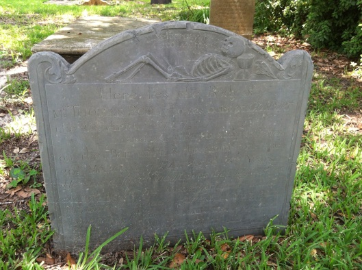 "The top of Thomas Pool's headstone reads: ""Yesterday for Me and To Day for Thee""."