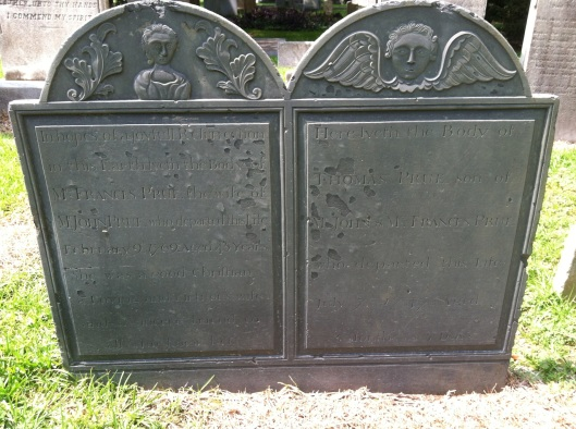This double headstone of Frances Prue and her son Thomas is located at St. Philip's Episcopal Church Western Cemetery.