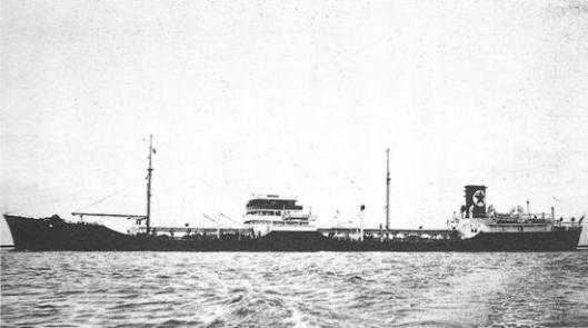 The SS Oklahoma was a commercial steam tanker operated by Texaco. But it was carrying military cargo when it was torpedoed in March 1945. Photo courtesy of Texaco.