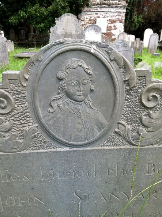 John Stanyard's grave provides a good example of the portraiture style of headstone that came into style toward the end of the 1700s and into the 1800s.