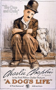 """A Dog's Life"" was made in 1918. Charlie Chaplin wrote, director, produced and acted in the film. His brother, Sydney, had a small role."