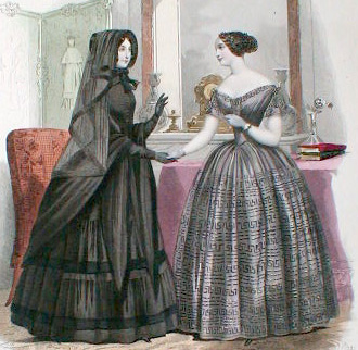 The woman on the left, from an 1855 fashion magazine, is an example of full or second mourning with her black veil, black gown and gloves.