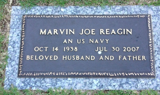 This is the grave of Steve's father, Marvin J. Reagin, Jr. He is buried in Fayetteville, Ga.