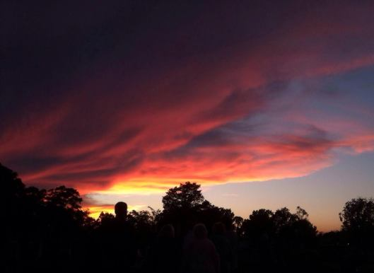 Sunset sky over Fayetteville City Cemetery.
