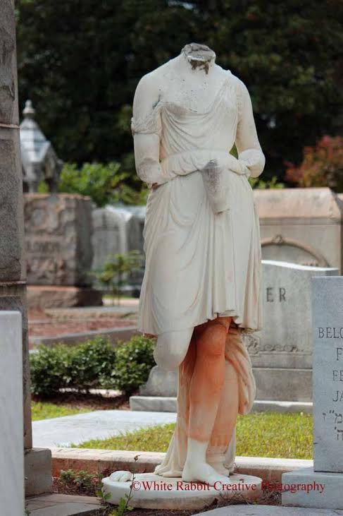 This headless statue holds a mystery. Nobody at Oakland Cemetery really knows her origins and how she ended up this way. All that is known is that she is supposed to represent the Greek goddess, Hebe.