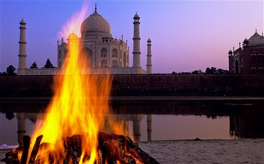 An outside funeral pyre is common in India. One study alleges that smoke from Hindu funeral pyres, Muslim cemeteries and Buddhist temples account for 25 percent of the greenhouse gases blamed for global warming on the Indian subcontinent melting of Himalayan glaciers.