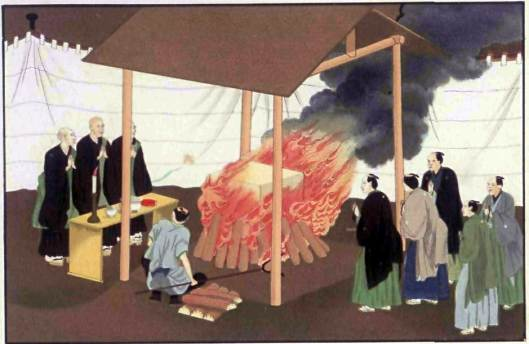 A nineteenth-century illustration of Japanese cremation.