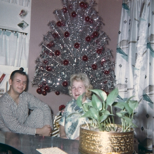 This is Mom and Dad during one of their first Christmases together.