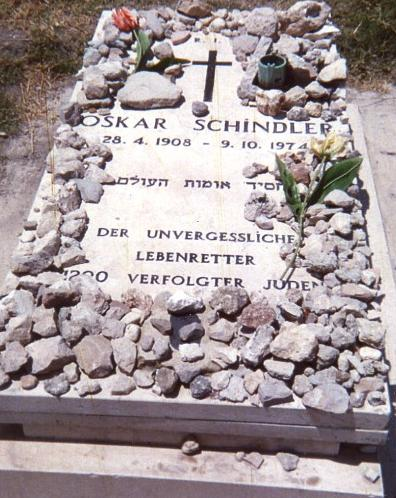 In the last scene of the film Schindler's List, the Jews saved by Oskar Schindler place stones on his grave to create the shape of a cross. His is buried in a Catholic cemetery in Jerusalem, Israel.