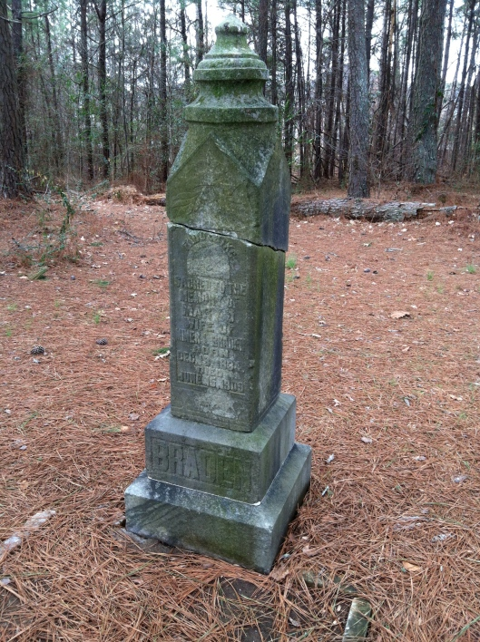 The monument for Mary Jane Milligan Braden is damaged but has been repaired.