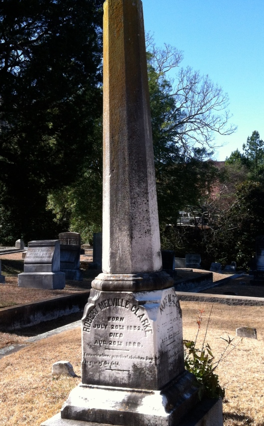 This is the Clarke family's monument. The son of the Rev. Clark and his wife, Alice, died a few years after his mother.