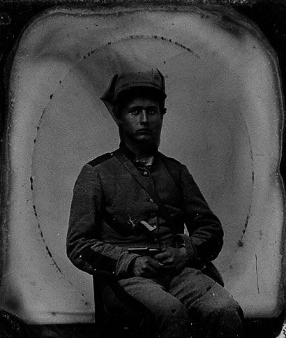 Tintype of the Rev. Elijah Henry Clarke in his Confederate uniform. He was the firstborn son of Rev. William Henry Clarke and his first wife, Melinda.