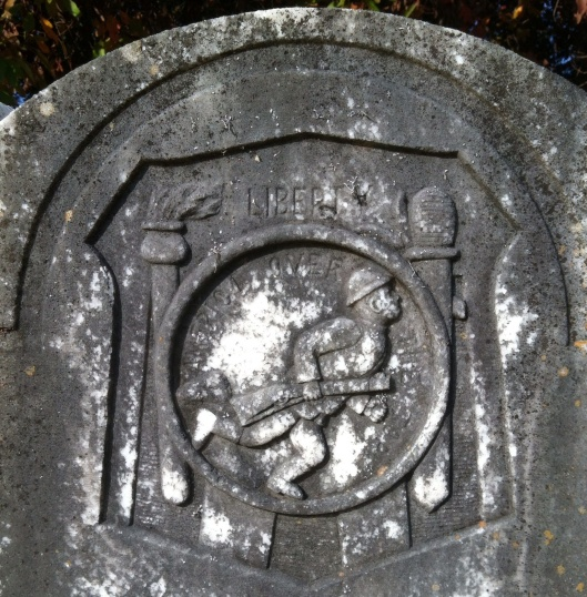 "I found this one at Fayetteville City Cemetery. It says ""America Over the Top."""