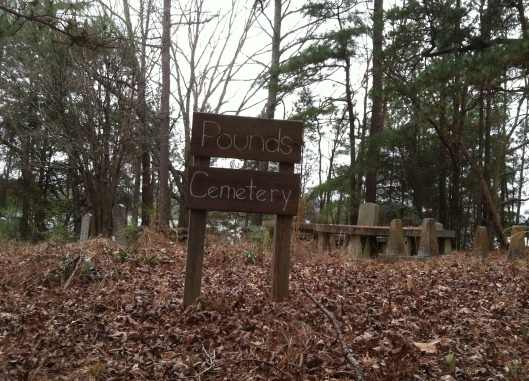 It's hard to believe anyone would know that Pounds Cemetery is located in an industrial park but someone is taking care of it.