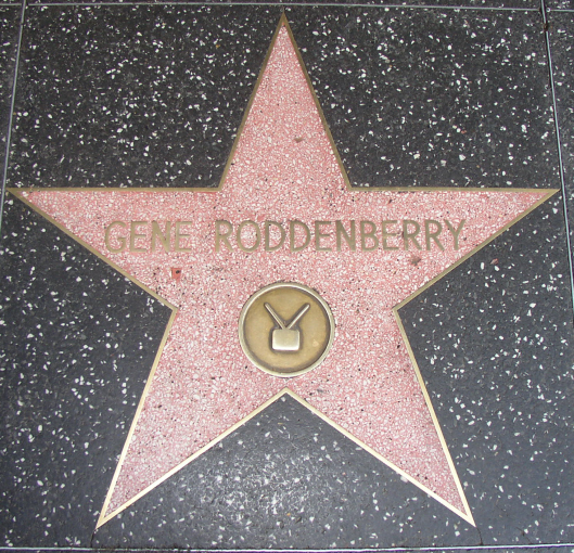 Placed on the Hollywood Walk of Fame in 1985, Gene Rodenberry's star was the first ever presented to a television writer. Photo courtesy of Wikimedia Commons.