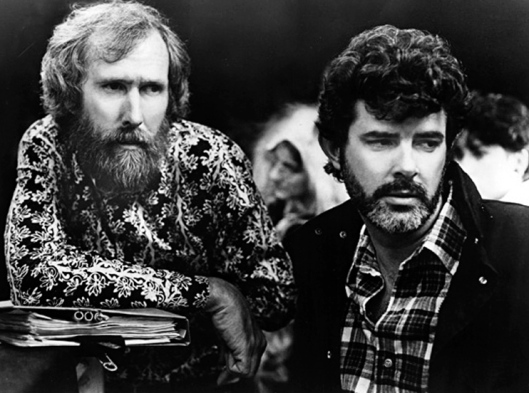 Jim Henson and producer George Lucas were working on the film Labyrinth in 1986. Film courtesy of Wikimedia Commons.