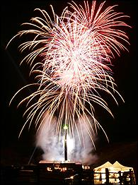 Fireworks carrying the ashes of the late Hunter S. Thompson explode over the top of his memorial on the Owl Farm in Woody Creek, Colo. Photo courtesy of Ed Andrieski/Associated Press/