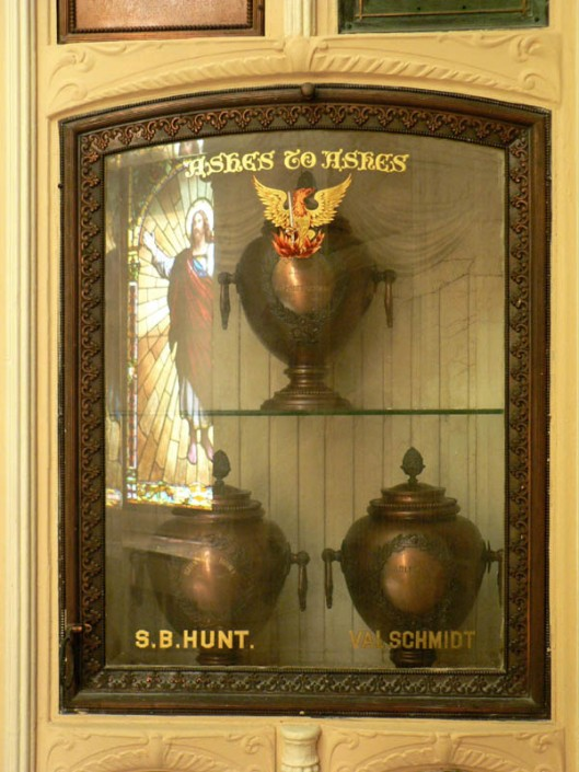 "The Neptune Society now owns the Oddfellows Columbarium, built in 1897. They restored it and have added on to it. The photo above is a niche from the old section and one below is from the new ""Hall of Olympians"" section. Photos courtesy of Patty Sokolecki-Smoot & Frederick Smoot."