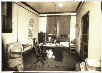 This small photo from 1926 shows Harvey in his law office in Carrollton.