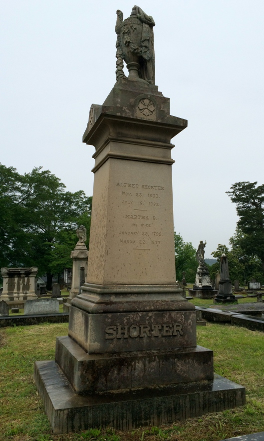 This is the monument for Col. Alfred Shorter and his wife, Mary. Shorter was the previous co-owner of Myrtle hill. He was also the namesake of what is now Shorter College.