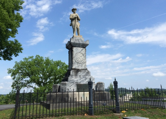 Myrtle Hill's Confederate monument sits atop the cemetery where Fort probably once stood during the Civil War.