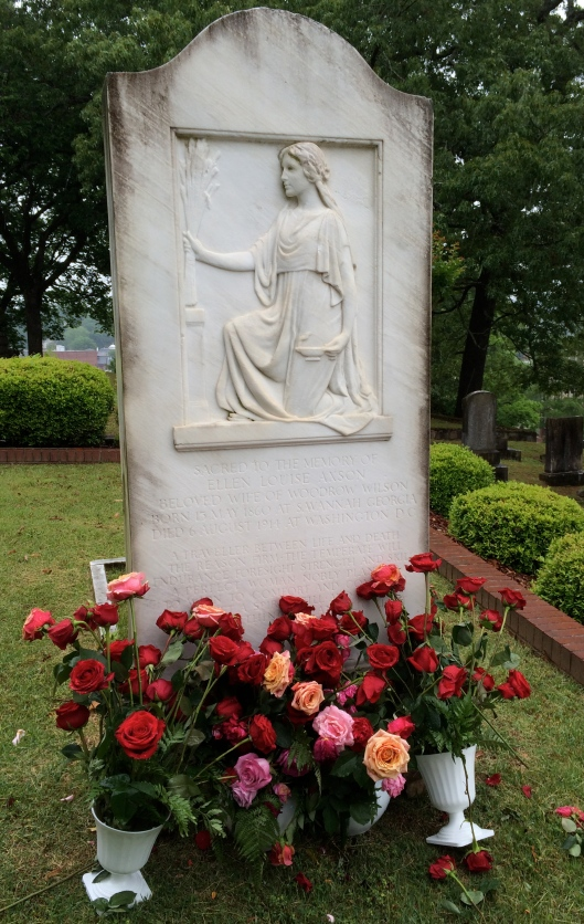 First Lady Ellen Axson Wilson is buried beside her father, the Rev. Samuel Axson. It was in his church that the Wilsons first met.