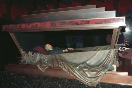 Lenin lies in state in an elaborate sarcophagus. Photo courtesy of ABC News.