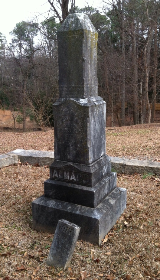 Grier Almand's gravestone indicates nothing about the horrible cause of his death.