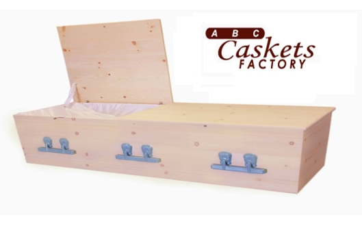 "Made of solid pine, this cremation casket is sold by the ABC Caskets Factory in Los Angeles, Calif. At $475, the ""Highland Pine"" is the least expensive casket they sell. Some people simply opt for a cardboard box to save the expense. Picture courtesy of ABC Caskets Factory."