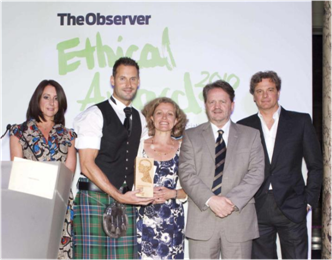 Yes, that's Colin Firth (aka Mr. Darcy) on the end. He presented the 2010 Jupiter Big Idea Award to Resomation, Ltd. at the Observer Ethics Awards. The firm's founds, Sandy Sullivan, is standing to his left.
