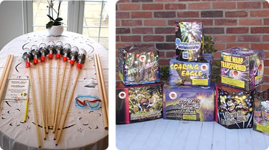 Heavens Above Firework sells self-fired rocked kits that you can add some of the deceased's ashes to before sending them skyward. The cost for a set of four is around $125. Note the goggle provided in the kit. Photo courtesy of Heavens Above Fireworks.